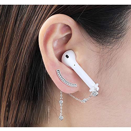 ALXDR S925 Pendientes del Perno Prisionero del Oído del Menisco Gota para El Oído, Espumoso Circón, Anti-Perdida Clips para Las Orejas para Auriculares Bluetooth