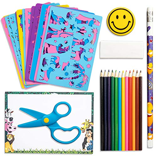 Drawing Stencils For Kids-Boys and Girls Arts and Crafts-43 Piece Sturdy Art Set For Kids-Includes 14 Kids Stencils, 12 Color Pencils, 1 Writing Pencil, Paper, Eraser, Plastic Scissors,Carrying Case