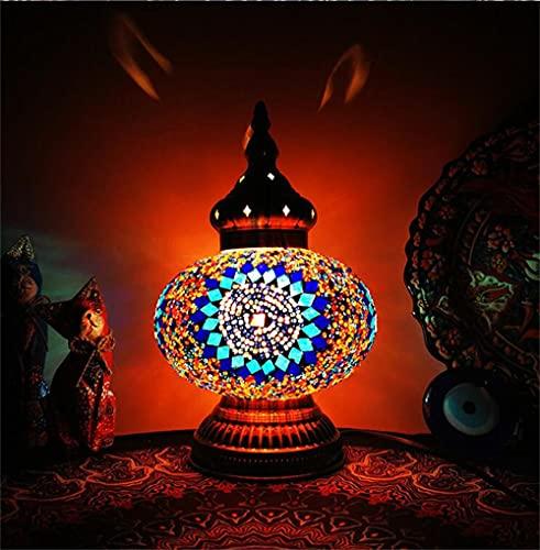 Turco marroquí Mosaico Mesa de vidrio Lámpara de noche, Bronce Base Lámpara de mesa única, lámpara de mesa colorida decorativa Boho, dormitorio de la sala de estar, mesa de centro-Vistoso
