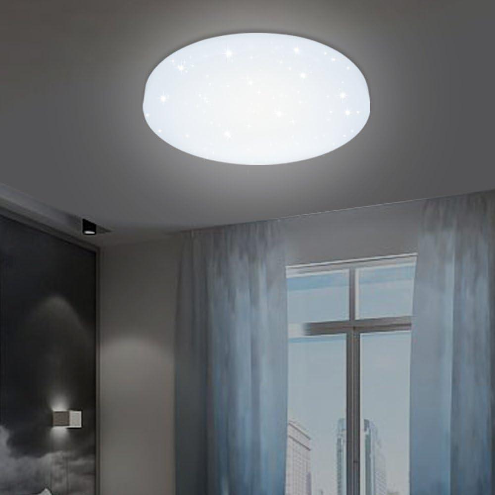 VINGO LED Deckenleuchte 20W, Weiß, Starlight Effekt, Ideale  Innenbeleuchtung für Wohnraum, Schlafzimmer, Korridor, Badezimmer