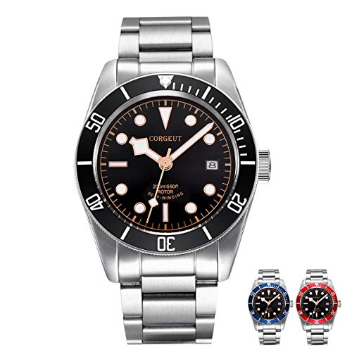 Mens Automatic Watch Stainless Steel Analog Mechanical Watches with Date, Japanese Movement, Sapphire Crystal