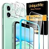 """[4 Pack] UniqueMe 2 Pack Protector de Pantalla Compatible con iPhone 11 (6.1"""") y 2 Pack Protector de lente de cámara Cristal Templado, [Cobertura máxima] [Sin Burbujas] Vidrio Templado HD"""