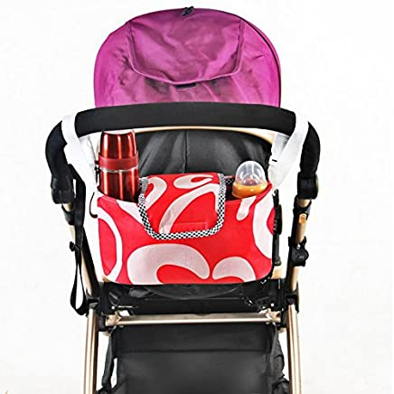 liltourist Kinderwagen Organizer mit Getr/änkehalter Kinderwagentasche mit zwei Becherhaltern und Reissverschlusstaschen schwarz