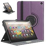 moko custodia compatibile con nuovo kindle fire hd 10 & 10 plus tablet (11a generazione, 2021 versione) tablet, supporto girevole 90°, porta penna, accessori tablet, cover per tablet, viola
