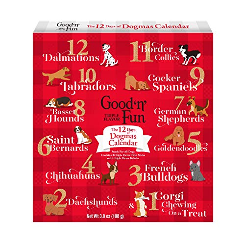 Good'n'Fun 12 Days of Dogmas Calendar, 3.8 Oz, Holiday Calendar with Chews and Treats for Dogs, Holiday Calendar Chews| 12-Count (P-94480H)
