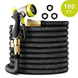 PAMAPIC 100 FT Expandable Garden Hose, Lightweight Durable Flexible Water Hose with 3/4 Nozzle Solid Brass Connector and...