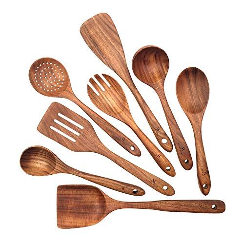 Asaph Home 8-Piece Teak Wood Cooking Utensil Set |Wooden Spoons For Cooking |Spatula Set  Serving Spoons  Serving Utensils  Kitchen Utensils Set  Spurtle