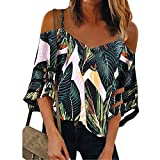Tops for Women Casual Strappy V Neck Blouse 3/4 Bell Sleeve Mesh Panel T Shirts Top Loose Summer Tee Tunic