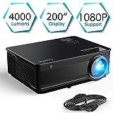 ExquizOn Videoproiettore M5 4000 Lumen, Supporto Full HD 1080P HDMI/VGA/AV/USB Home Cinema con PS4/SWITCH/XBOX/TV Box/iPhone/iPad/Android Laptop/Dvd/Altoparlante Esterno