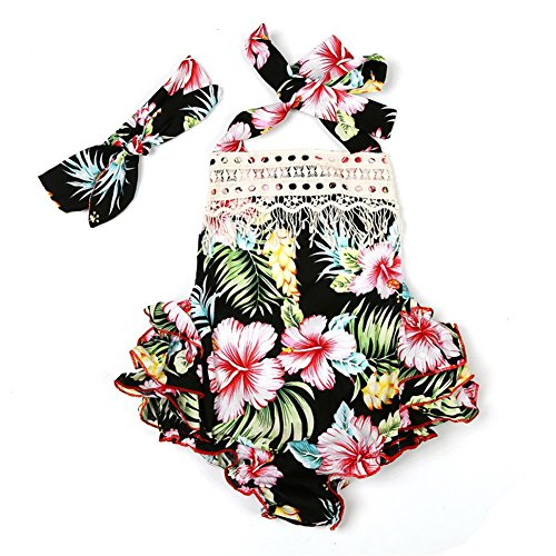 3 Style Baby Girl Lace Tassel Dress Backless Halter Ruffled Romper with Headband (6-12 M, Black+Lace)