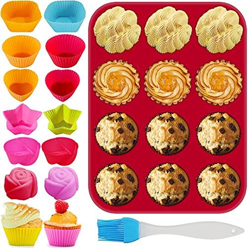Molde Para Muffins De Silicona Antiadherente Para Muffins Para Hornear Cupcakes Brownies