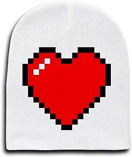 8-Bit Heart Video Game - White Beanie Cap/Hat