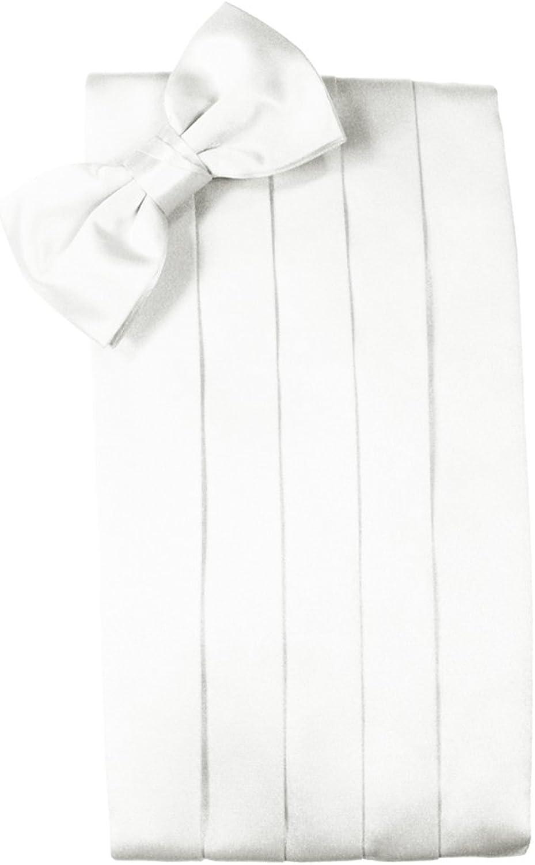 Cardi Men's Solid Satin Bowtie and Cummerbund Set White