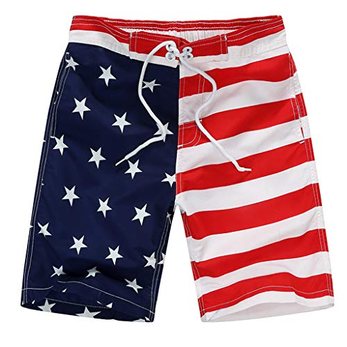 NINGSANJIN Jungen Badehose Kinder Badeshorts Schnell Stamm amerikanische Flagge Badebekleidung Shorts USA Swimtrunk 6-16 Jahre