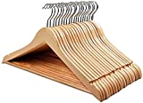 HOUSE DAY 20 Pack Wooden Suit Hanger Wooden Clothes Hanger Smooth Finish Solid Wooden Coat Hanger High-Grade Wooden Hangers for Clothes Suit, Dress, Camisole, Jacket, Pants Natural
