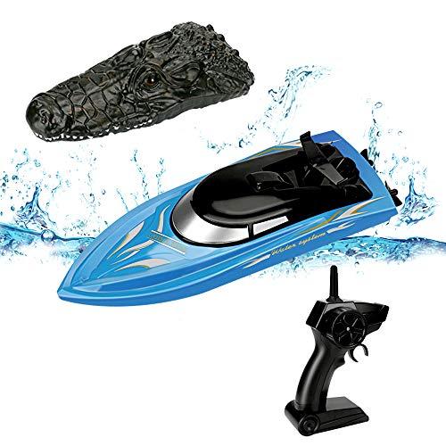 NOBRAND Powcan 2.4 GHz Crocodile RC Boat High Speed (10 mph) Control Remoto Barcos de Carreras para Piscinas y Lagos con baterías Recargables Speedboat Remote Control Toy