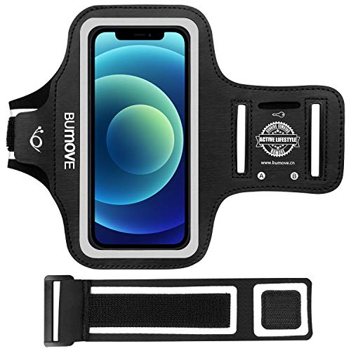 iPhone 12 Mini Armband, BUMOVE Gym Workouts Sports Running Cell Phone Arm Band for iPhone 12 Mini 5.4-inch with Key Holder (Black)