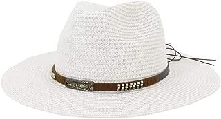 SHENTIANWEI Summer Women Straw Sun Hat White Flat Wide Side Ladies Jazz Hat Fedora Hat Visor Beach Hat