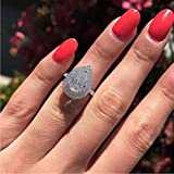 Xunuo Platinum Plated CZ Pear Shaped Cubic Zirconia Crystal Halo Wedding Teardrop Shaped Ring for Women Sizes 6 to 10 (US Size 9)