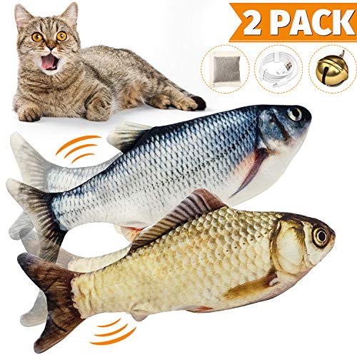 WONDAY 2 Pack Electric Moving Fish Cat Toy-Interactive Cat Toys-Realistic Plush Simulation Electric Doll Fish-Wiggle Fish Catnip Toys- Funny Pets Chew Bite Supplies for Cat