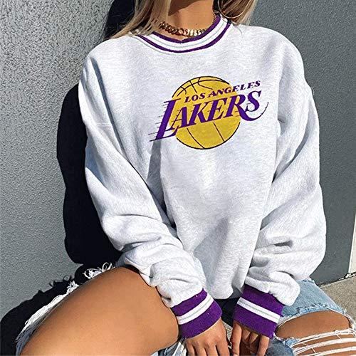 Dybory Sudadera de la NBA para Mujer, Sudadera Ligera con el Logotipo del Equipo de Los Angeles Lakers, Adecuada para otoño e Invierno,Blanco,S