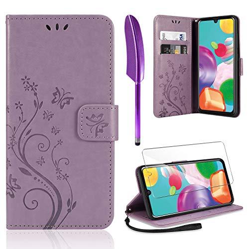 AROYI Lederhülle Kompatibel mit Samsung Galaxy A41 Hülle & Schutzfolie, Flip Wallet Handyhülle PU Leder Tasche Hülle Kartensteckplätzen Schutzhülle Kompatibel mit Samsung Galaxy A41 Hellviolett