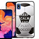 for Samsung Galaxy A10e Case, Slim-Fit TPU Phone Case (Black Bezel) with Tempered Glass Screen Protector, by One Tough Shield - Keep Calm Soccer