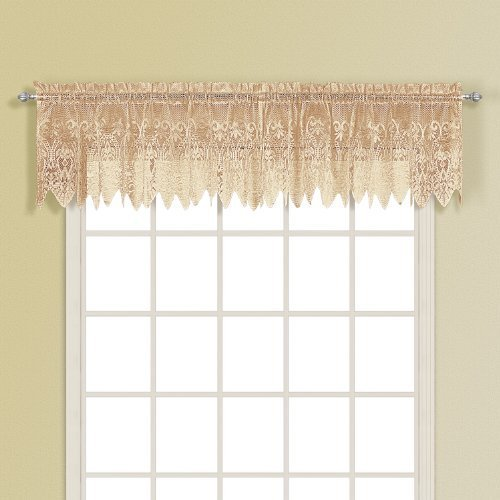 United Curtain Valerie Lace Sheer Straight Valance, 52 by 18-Inch, Taupe by United Curtain