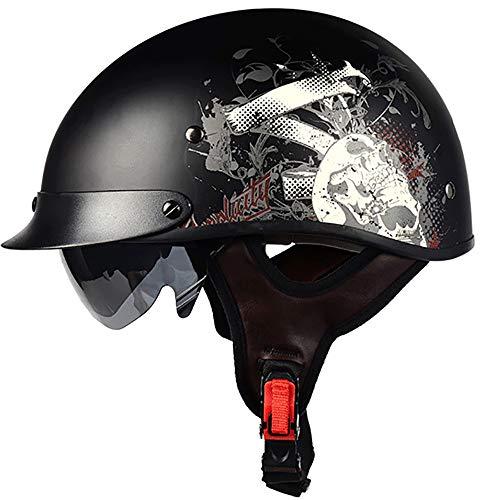 RXDRO Motorrad-Halbhelm, Retro-Harley-Helm Mit Offenem Helm DOT-Zertifizierter Unisex-Cruiser-Chopper-Hubschrauberhelm-Roller-Antikollisionsschutzhelm