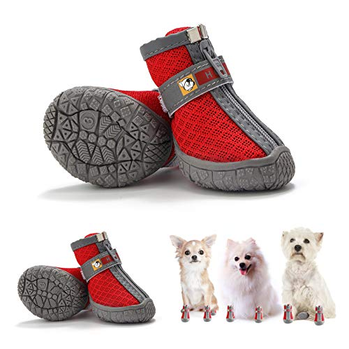 Hcpet Breathable Pet Dogs Shoe TPR Rubber Outsole Non-Slip Waterproof Durable Small Dog Booties with Zipper (4#(W1.69 L1.88) Within 22lbs, Red)