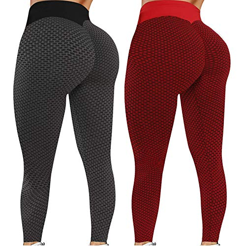 2 Pieces Women's Stretch Yoga Leggings High Waist Abdominal Control Butt Lift Anti-Cellulite Compression Trousers Sports Leggings Push Up Leggings Full Length for Fitness Running (L, XS)