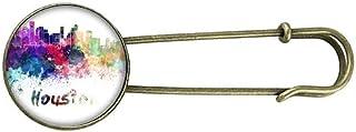 Houston America City Watercolor Retro Metal Brooch Pin Clip Jewelry