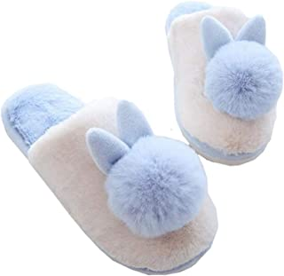 Women Comfortable Cotton Knit Anti-Slip House Slipper Washable Slip-On Home Shoes