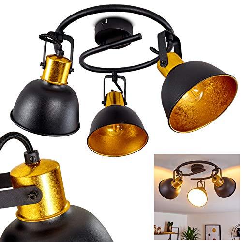 Deckenleuchte Borik, runde Deckenlampe aus Metall in Schwarz/Gold, 3-flammig, mit verstellbaren Strahlern, 3 x E14-Fassung max. 25 Watt, Spot im Retro/Vintage Design, für LED Leuchtmittel geeignet