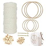Macrame Cuerda 3 mm con 6 Aros de Madera de Bambú y 60 Cuentas de Madera para Manualidades, Algodó...