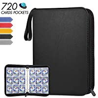 POKONBOY 720 Pockets Baseball Card Binder Sleeves, Trading Card Binder Holder Compatible with Pokemen, Football and Sports Cards (Black)