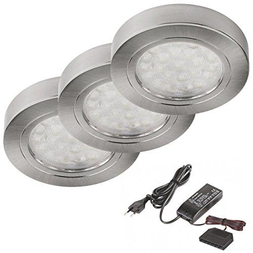 3er Set LED Unterbau-Leuchte Edelstahl gebürstet rund, 2W warm-weiß, Ø65mm inkl.Trafo und 6-fach Verteiler