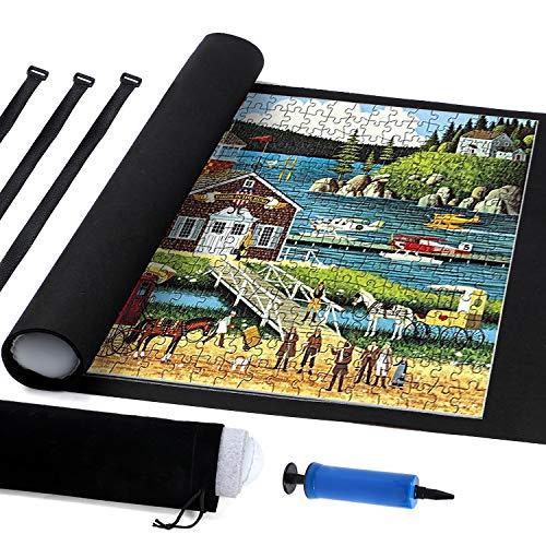 Tacobear Puzzleunterlage Puzzlerolle für 1500 Teile Roll Your Puzzle Puzzlematte für Puzzle mit Aufbewahrungstasche (Schwarz)