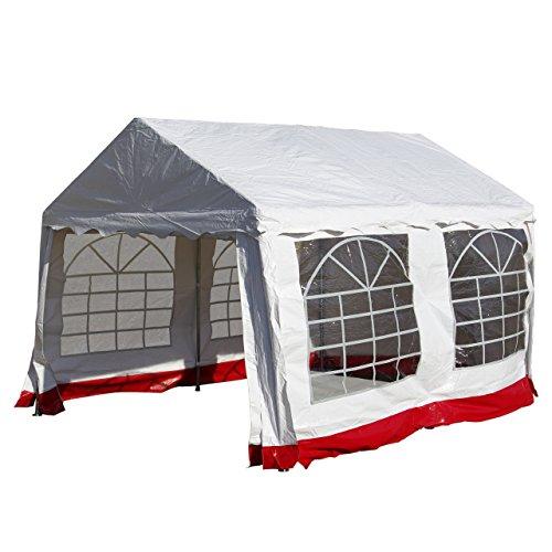 Nexos Hochwertiges Festzelt Partyzelt Pavillon 3x4 m weiß/roter Rand mit Seitenteilen für Garten Terrasse Plane Feier Markt wasserdicht PVC Dach 400 g/m²