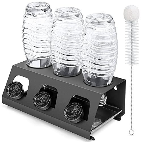 Luxebell Soda Flaschenhalter, 3er Abtropfhalter Soda Flasche aus Edelstahl mit Herausnehmbare Tropfschale Abtropfgestell für SodaFlasche und Glas Flaschen (schwarz)