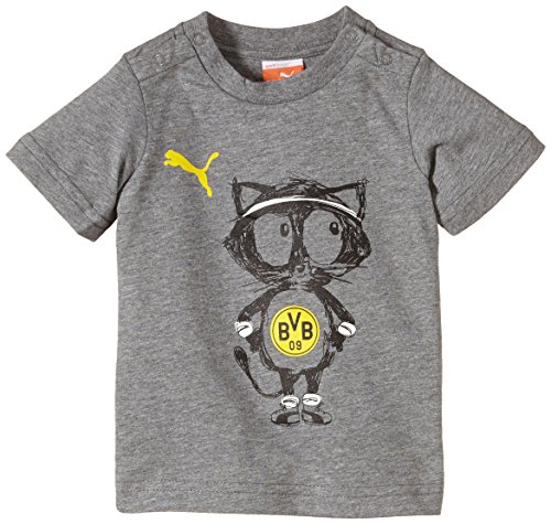 PUMA Baby T-Shirt BVB Minicats Graphic Tee, Medium Gray Heather-Cat, 62