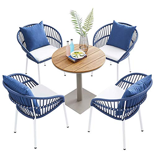 Aimir Outdoor Patio Furniture Sets, 5-Piece Braided Rope Chair Conversation Set with Coffee Table All-Weather Backyard Garden Combination Sets