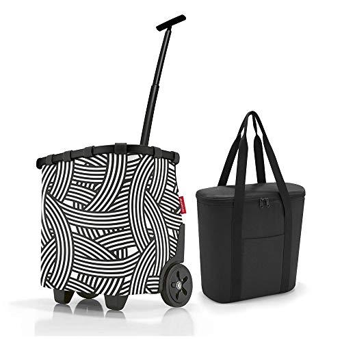 reisenthel, Set Carrycruiser + Thermoshopper, OEOV, Einkaufstrolley mit Kühltasche, Frame Zebra + Black