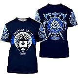 Dios Odin, Camiseta Oscura de Barco Pirata de Hacha Vikinga Nórdica, Top T Shirt de Manga Corta Valknut Valhalla Mjolnir, Martillo de Thor Nórdico, Nudo Celta Fenrir Lobo,Azul,4XL