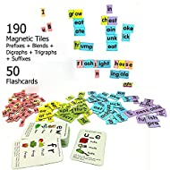 MFM TOYS Magnetic Phonic Word Builder ~ 170 Magnetic Tiles + 50 Flashcards (Does Not Include Magnetic Board) Ages 6+