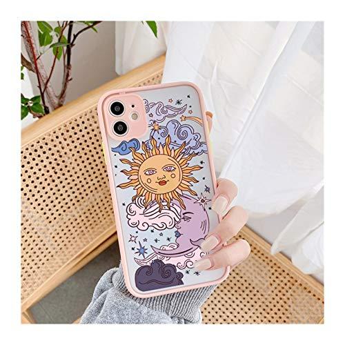 KEHUITONG PSWK Jamular Funny Sun Moon Face Funda a Prueba de Golpes para iPhone 11 / Pro / 12/7 / XS/MAX/X/XR / SE20 / 8 / Plus TPU Matte CUCHE CUBIERTE (Color : Style 1, Material : For iPhone 6 6s)