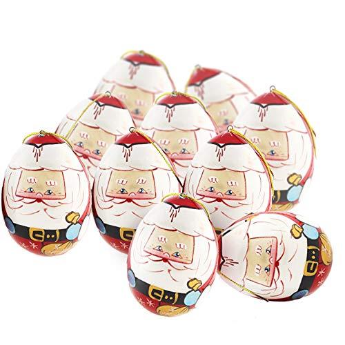 Azhna - Set di 10 uova in legno Babbo Natale per la casa, regalo di souvenir dipinte a mano, uova di Natale