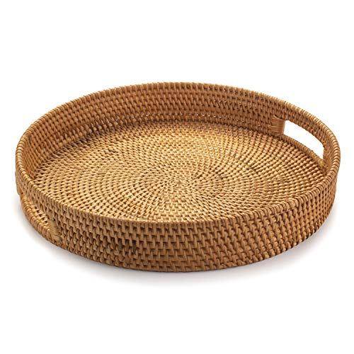 Rattan Round Serving Tray, Hand Woven Serving Basket with Cut - Out Handles, Wicker Fruit/Bread Serving Basket, 14.2 inch