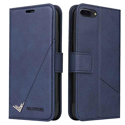 MOONCASE Funda para iPhone 7 Plus, Premium Cuero Billetera Ranura Tarjeta Antichoque Soporte Plegable Funda para iPhone 7 Plus - Azul