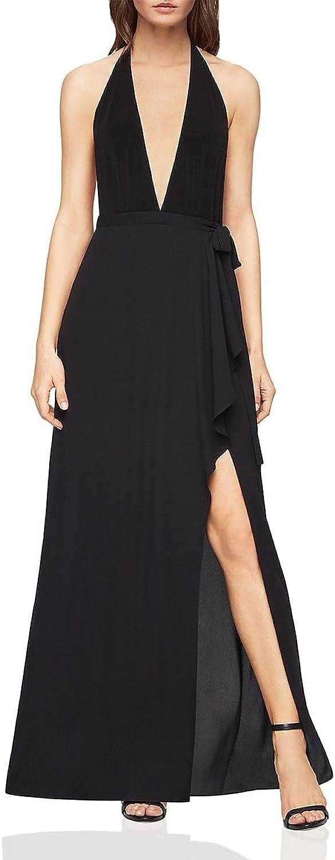 BCBG Max Azria Womens Angeline Halter Evening Formal Dress Black 12
